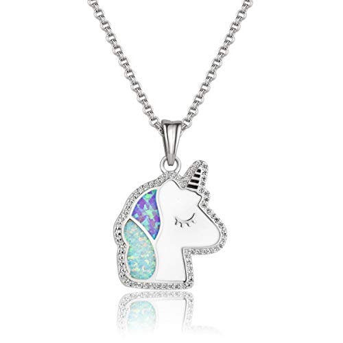 - Karseer Cute Fantasy Unicorn Opal Crystal Pendant Necklace Lucky Adorable Cartoon Necklace Infinity Love Charm Jewelry Gift for Girls Women Kids Daughters Mother Sister BFF (White Gold)