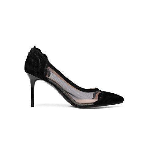 del Profundas pie tacón de Estilete Libre Zapatos Sandalias del Recortadas tacón del Atractivas al Aire Mujeres de Las ZXMXY Aguja de de Alto Negro Sandalias Poco Dedo Zapatos 7zwOUqO