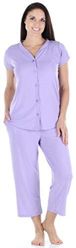 - PajamaMania Women's Sleepwear Stretchy Knit Short Sleeve Button Up Top and Capri Pant Pajama Set (PMR1923-2020-LRG) Lilac