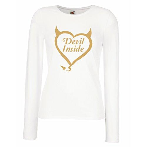 "Camisetas de Manga Larga para Mujer Devil Inside ""Devil costumes"" funny clothes gag gifts Blanco Oro"