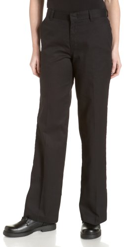 Dickies Women's Wrinkle and Stain Resistant Flat Front Twill Pant, Black, 6 (Black Flat Front Capri)