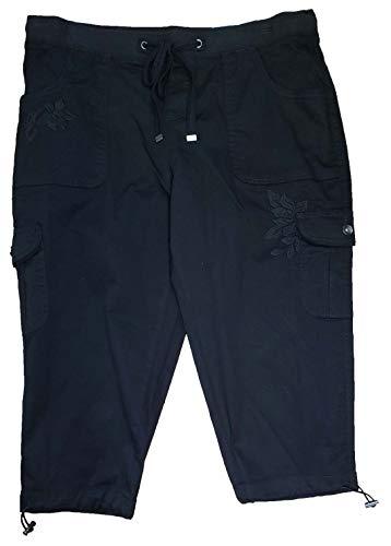 (Black Soot Plus Size Embroidered Cargo Capri - 2X)