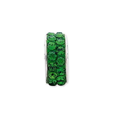 Sterling Silver Reflections Green Double Row Elements Bead (Sterling Silver Reflections Green)