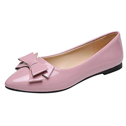Cenglings Women's Casual Pointed Toe Bowknot Solid Flat Shoes Patent Leather Shallow Office Work Shoes Dress Sandals Pink