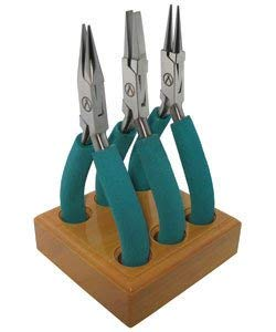 Baby Wubber Triplet Plier Set with Wood Storage Base