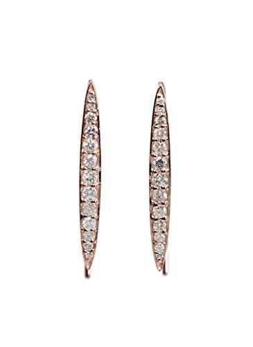 - 14K Rose Gold White Gold Genuine White Diamond Threader Earrings- 1