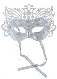 Blue Topaz Boutique Platinum Ice Silver Sparkle Mysterious Mystique Mardi Gras Party Mask Comfort Molded With Sexy Black Tie Back Ribbon Closure