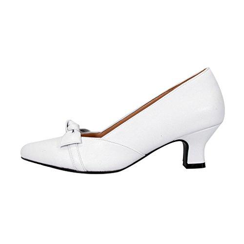 Peerage Fic Belle Womens Ampia Larghezza Elegante Prua Vestito Pompa Accento (dimensioni E Guide Di Misurazione Disponibili) Bianco