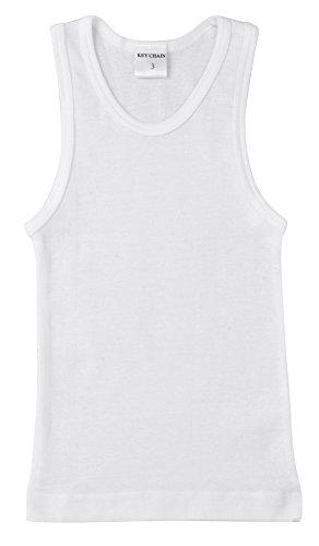 Key Chain Boy's Classic White Tank Top Undershirt, 100% Cotton, Value 2-Pack, Size: - T-shirt Chain White
