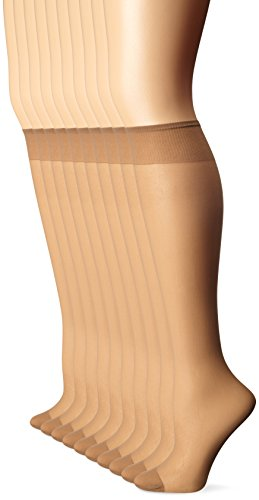 L'eggs Women's 10 Pair Everyday Reinforced Toe Knee Highs, Nude, One Size