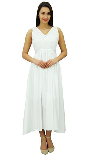 s Bimba White Sleeveless Cotton Casual Women Dress Lace Maxi Long Chic AZqT57Z