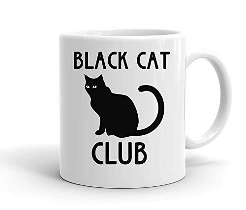 Black Cat Club Nice Suspicious Black Cat Sitting White Ceramic Mug For Tea And Coffee