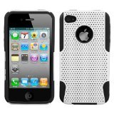 Asmyna AIPHONE4HPCAST004NP Astronoot Premium Hybrid Case with Durable Hard Plastic Faceplate for Apple iPhone 4 - 1 Pack - Retail Packaging - White/Black