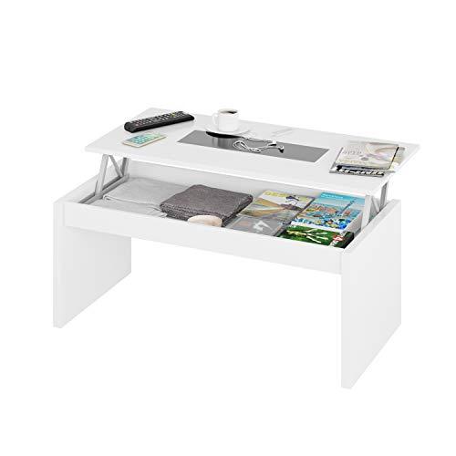 Habitdesign 0T1638BO - Mesa de Centro elevable Zenit Cristal, mesita Mueble Salon Comedor, Acabado Blanco Brillo y Cristal Negro, Dimensiones 100 cm ...