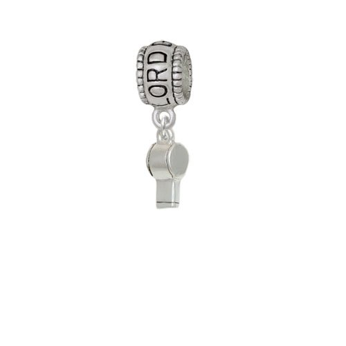 Silvertone 3 D Whistle Lord Guide Me Charm Bead