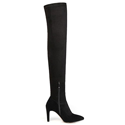 Classic Stiletto High Suede 6CM TAOFFEN Black Women Sexy Boots Over Knee Long qEqtp0xR