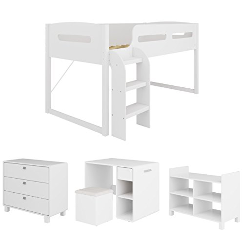 CorLiving BMG-210-B 5-Piece Madison All-in-One Loft Bed, Single/Twin, Snow White