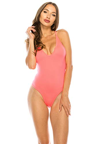 (CNC STYLE B007 Women's Sexy Tank Top One Piece High Cut Bodysuit Tight Leotard Thong Playsuit, Neon Pink, Large)
