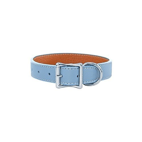 Luxury Italian Leather Tuscany Dog Collar Light bluee 20
