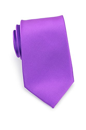 (Bows-N-Ties Men's Necktie Solid Color Microfiber Satin Tie 3.25 Inches (Violet))