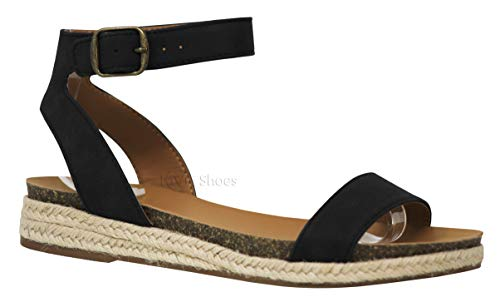 MVE Shoes Women's Open Toe Ankle Strap Thick Platform- Cute Comfort Sandals, Tacoma Black nbpu 7