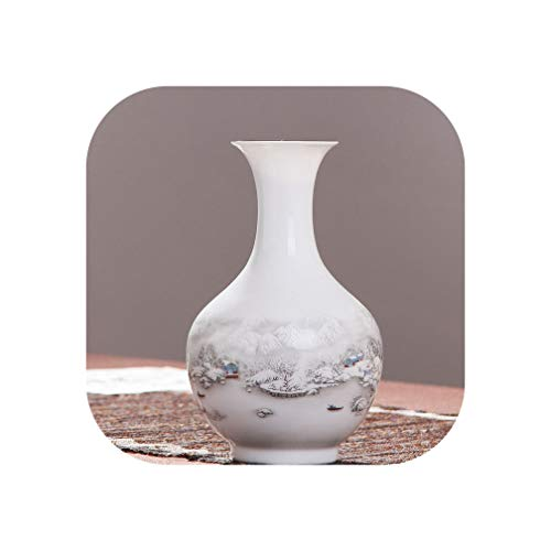 Vase Ceramic Small Vase Flower Arrangement Home Decoration Craft Room Decoration Chinese Village Snow Landscape,Blue