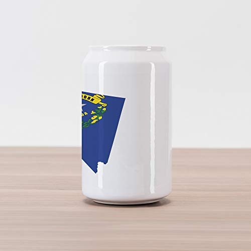 Lunarable Nevada Cola Can Shape Piggy Bank, Layout of State Map with Flag Grey Star Flowers and Sagebrush, Ceramic Cola Shaped Coin Box Money Bank for Cash Saving, Cobalt Blue Yellow Green