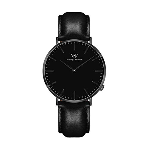 Welly Merck Black Watches for Women Minimalist Swiss Quartz Movement Sapphire Crystal Stainless Steel Analog Wrist Watch with Interchangeable Italian Leather Strap,5ATM Water Resistant