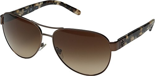 Tory Burch Women's 0TY6051 Bronze/Pearl Brown Tortoise/Dark Brown Gradient (Dark Bronze Sunglasses)