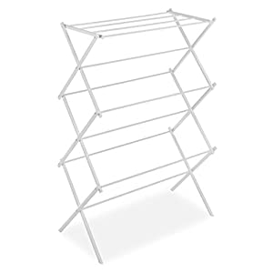 Whitmor 11 Bar Clothes Drying Rack with Top Shelf - Indoor and Outdoor - Foldable - White