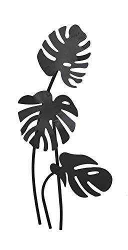 (Aromzen Large Black Palm Leaf Sculptures Metal Wall Decor | 21