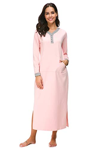 M-anxiu Womens Full Length Fleece Nightgown Pullover Sleepwear with Pocket(Pink,Small)