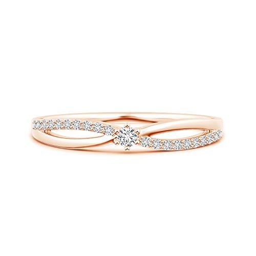 Lab Grown Diamond Split Shank Promise Ring in 14k Rose Gold ()