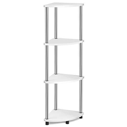 Tangkula 4-Tier Corner Shelf, Steel Frame Corner Shelving Unit, Bathroom Organizer Shelf, for Home Bathroom Kitchen Living Room, Corner Display Stand White