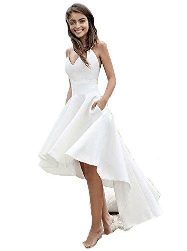7a8a02e4263e Fenghuavip Beach Wedding Dress High Low Bridal Gowns Backless. lace low  back spaghetti strap mermaid ...