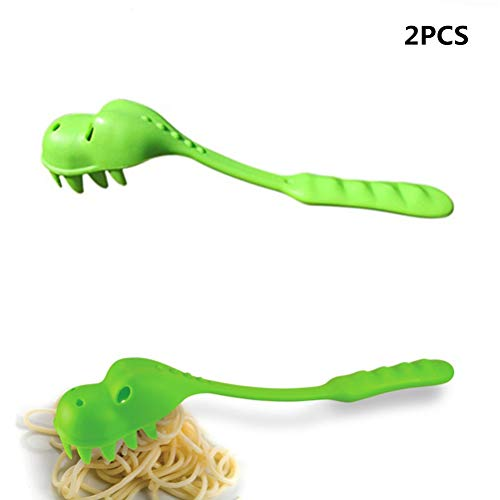 SUSHAFEN 2Pcs Dinosaur Pasta Spoons Pasta Server Fun Dinosaur Multifunctional Spoons Lovely Dinosaur-Shaped Noodle Spoons Kitchen Tableware Utensil Dinosaur Party Tableware Favors (Dinosaur With Nose On Top Of Head)