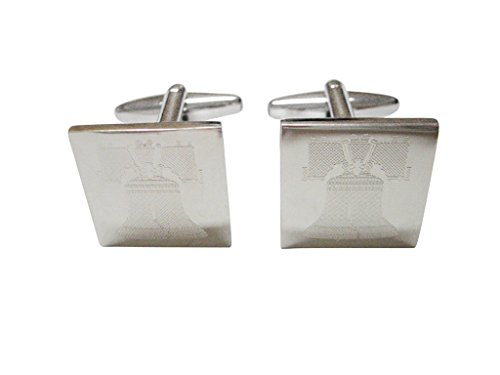 American Liberty Cufflinks (Silver Toned Etched American Liberty Bell Cufflinks)