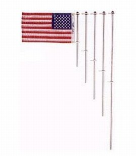 Taylor Made Products 919 Aluminum Boat 3/4-Inch Flag Pole With Charlevoix Clips (48-Inch)