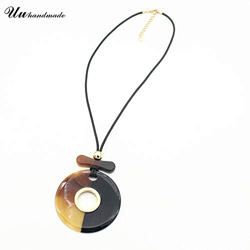 (Stone Chrysocolla Pendant Necklace Women Jewelry Collares Mujer Charms Geometric Triangle Round Long Leather Chain Top Fashion )