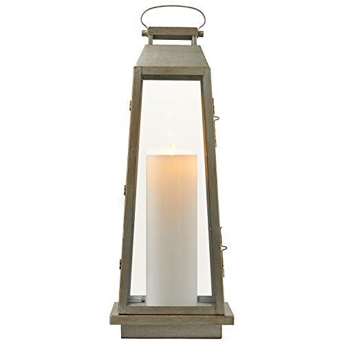 Stone & Beam Modern Traditional Decorative Metal and Glass Lantern with Candle, 25''H, Champagne Silver, For Indoor Outdoor Use by Stone & Beam (Image #5)