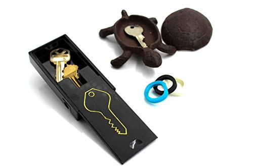 GenRev 2 Piece Hide a Key Set - Decorative Outside Turtle Statue Key Hider and Magnetic Under Car Key Box - with Added Key Identifier Rings