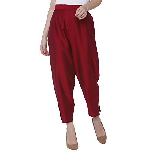 Shiloh Maroon Polyester Relaxed Trousers for Women