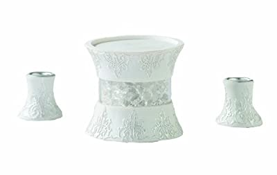 Lillian Rose 3-Piece Candle Holder Set, White Resin and Crystal