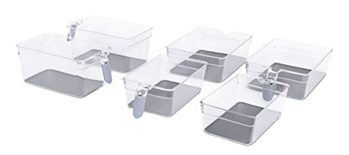 Refrigerated Wide Drawer (Internet's Best Kitchen Pantry Organizer Bins Set with Handles | 6 Piece Set | Pantry Fridge Freezer Storage Cabinet Containers | Silicone Non Slip Tray Feet | Clear Acrylic Holders)