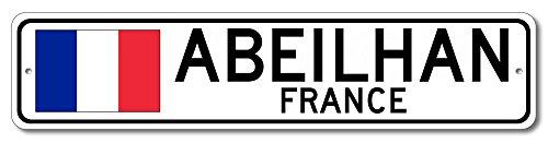 "The Lizton Sign Shop Abeilhan, France Aluminum French Flag Sign, France Custom Flag Sign - 9""x36"""