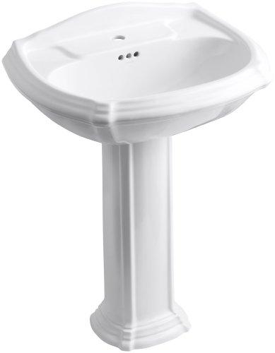 Portrait Portrait Pedestal Lavatory - KOHLER K-2221-1-0 Portrait Pedestal Bathroom Sink with Single-Hole Faucet Drilling, White