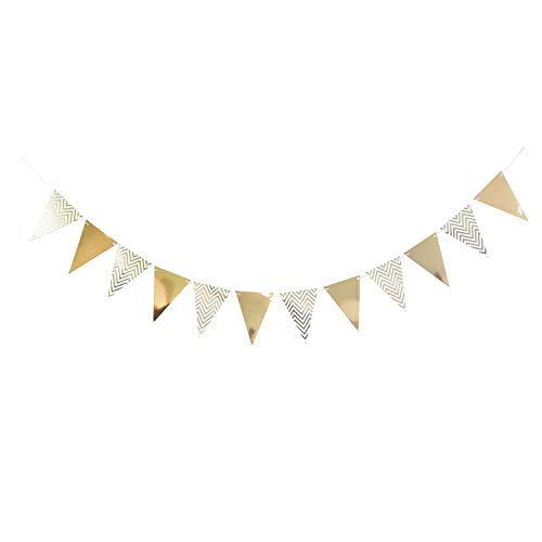 3m 12 Flag Gold/Silver/Pink/Blue Paper Board Garland Banner For Baby Shower Birthday Party Decoration Kids Room Decoration,Rose gold
