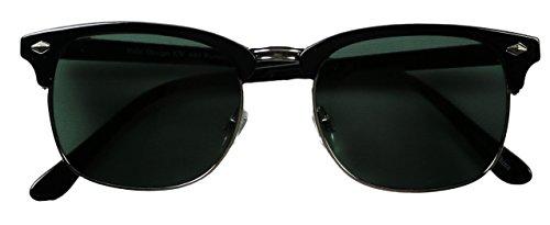 ShadyVEU - Premium Half Rim Clubmaster Style 80's Sunglasses with Glass Lens (Black w/ Silver Trim, Black Smoke Lens) (Inspired Sunglasses Black Frame)