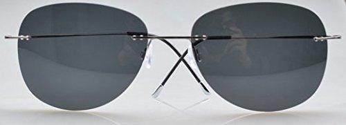 Eyekepper Lunettes sans monture en titane Cadre Lunettes de soleil polarisées Gunmetal/Grey Lens