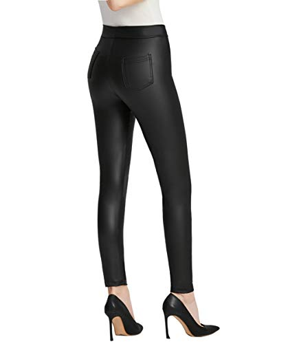 Everbellus Women Sexy Faux Leather Leggings with Pockets Skinny Leather Pants Black (XL Fit Waist 30
